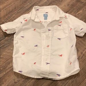 Gap toddler button down cute sharks shirt